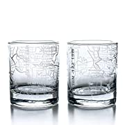 Sand etched whiskey tumbler: Each Greenline Goods rocks whisky glass was etched by a skilled artisan and features a hand drawn street grid with map coordinates. Glass sets are carefully packed in an elegant gift box and chosen to make a lasting impre...