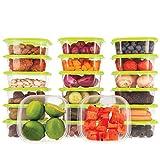 Oursson Recipientes Plastico para Alimentos Almacenaje Cocina con Tapas Verde | Set de 20 Piezas x 400 ml | Sin BPA | Tapers para Comida Hermetico | Lunch Box | Fiambrera | Organizador Frigorifico |