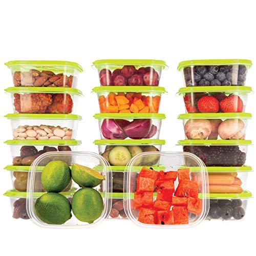 Oursson Frischhaltedose Set aus BPA-freiem Plastik, mit grün Deckel, Lunchbox (20x400 ml, Grün)