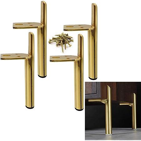 "Set Of Four Metal Furniture Legs 5"" Brass Gold w// Screws"