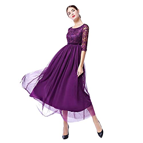 1c4c5bdc87 IWEMEK Women s Vintage Elegant 2 3 Sleeves Floral Lace Tulle Evening  Cocktail Prom Ball Gown