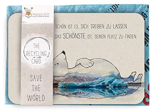 Preisgekrönte Postkarte A5 mit Umschlag | Schöne Spruchkarte im Set | Postkarte mit Recycling Dauerumschlag | Karte für viele Angelegenheit | Rückseite farbig bedruckt | DIN A 5 | Motiv: Eisbär