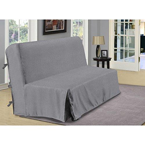 Copridivano per divano letto a fisarmonica, in finto lino, grigio, dimensioni: 140 x 190 cm