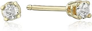 10k Gold Round Cut Diamond Studs (1/10 cttw, J-K Color, I3 Clarity)