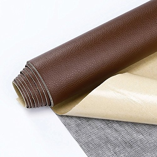 "Self Adhesive Leather PU Fabric Repairing Patches for Sofa, for Car Seats, for Clothing (Width 19.6"" x Length 53.9"") (Dark Brown)"