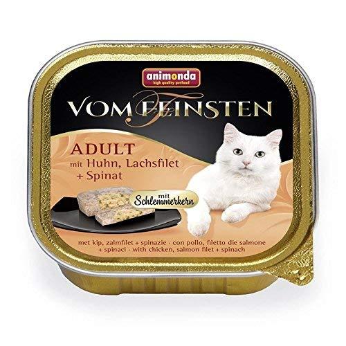 animonda Vom Feinsten Adult Katzenfutter, Nassfutter für ausgewachsene Katzen, Schlemmerkernmit Huhn, Lachsfilet + Spinat, 32 x 100 g