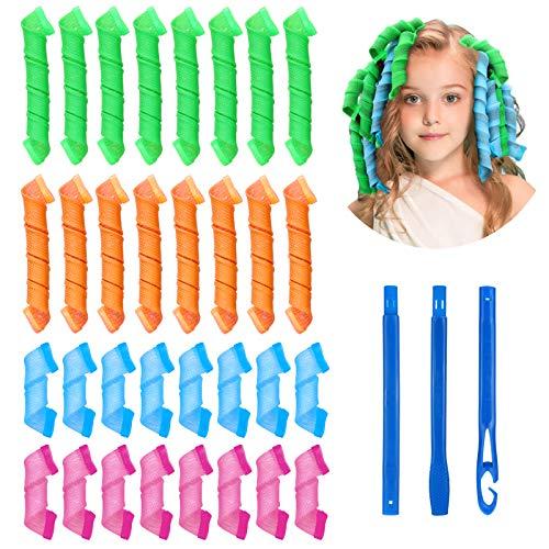 Sinwind 32Pcs Magic Spiral Lockenwickler Set Haarstyling-Werkzeuge Keine Hitze Flexible DIY-Lockenwickler mit Styling-Haken für Frauen Mädchen (Mehrfarbig)