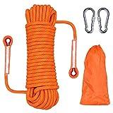 Knowing 20M * 10MM Cuerda Escalada al Aire Libre, Cuerda Escalada Cuerda Servicio Pesado, con 2 Mosquetón, para Usos al Aire Libre Supervivencia Emergencia, Camping Rescate Incendios (Naranja)