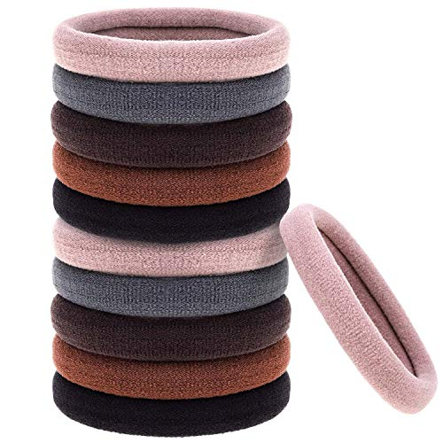 Anezus 50 Pcs Thick Black Hair Ties Large Hair Elastics Bulk Hair Ties Stretch Hair Bands Ponytail Holders for Thick Heavy and Curly Hair, Neutral Colors