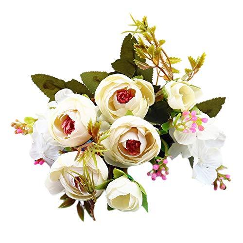 Lazzboy Unechte Blumen,Künstliche Deko Blumen Gefälschte Blumen Blumenstrauß Seide Wirkliches Berührungsgefühlen, Braut Hochzeitsblumenstrauß für Haus Garten Party Blumenschmuck #04(G)