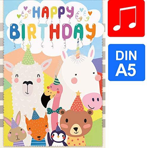 bentino Geburtstagskarte für Kinder, DIN A5 Set mit Umschlag, Grußkarte spielt