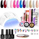 Beetles 12 Colors Home DIY Gel Nail Polish Starter Kit with U V Light 48W LED Nail Lamp Gel Base Top Coat Cure White Pink Red Gel Polish Glitter Powder Nail Art Rhinestone Gems Manicure Gift for Women