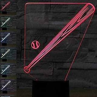Amazing 7 Colors Optical Illusion 3D Baseball Bat Lamps,Glow Lighting Nightlight Room Decor Table Lamps