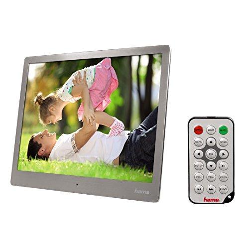 Hama Digitaler Bilderrahmen (Slim Steel, 24,64 cm (9,7 Zoll) SD/SDHC/MMC, USB, Musik-/Videowiedergabe, Auflösung 1024 x 768, mit Fernbedienung) silber