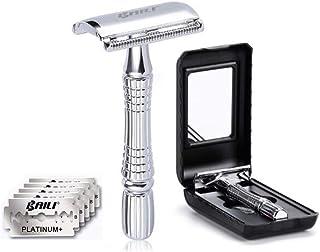 BAILI Double Edge Safety Razor Men's Razor Beard Shaver Manly Wet Shaving Kit - Fits All Double Edge Razor Blades - Chrome Silver + 5 Platinum Sharp Blades with Travel Case