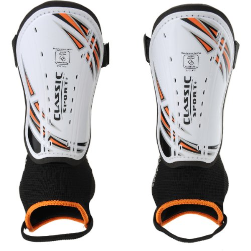 CLASSIC SPORT Boys Soccer Shin Guards - Size: XS/Extra Small, White/orange