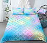 Scale Bedding Blue Pink Mermaid Duvet Cover Set Blue Pink Gold Magic Fish Scales Printed Design Mermaid Girls Bedding Sets Twin 1 Duvet Cover 1 Pillowcase (Twin, Blue Pink)