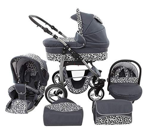 Poussette Combinée Trio landau 2en1 3en1 Isofix siège Auto D-Deluxe by SaintBaby graphite & léopard des neiges 3en1 avec siège bébé