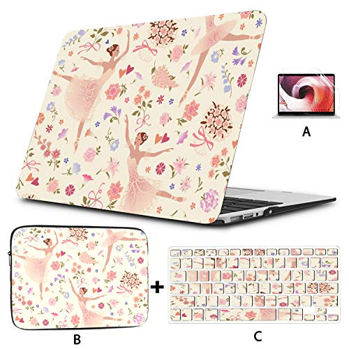 MacBook Cover 13 Inch Dancing Ballerinas with Pink Glorious Rose Flower Mac 13 Inch Case Hard Shell Mac Air 11'/13' Pro 13'/15'/16' with Notebook Sleeve Bag for MacBook 2008-2020 V