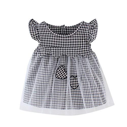 Janly Clearance Sale Falda de vestido para niñas de 0 a 24 meses, diseño de corazón de tul impreso en forma de corazón, bonito regalo para 18 a 24 meses, día de San Patricio (Negro)