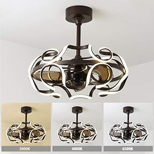 LFANH Ventilador de techo con mando a distancia, lámpara de araña LED creativa moderna con ventilador, 3 velocidades de viento, regulable, para dormitorio, oficina, salón, comedor, cocina