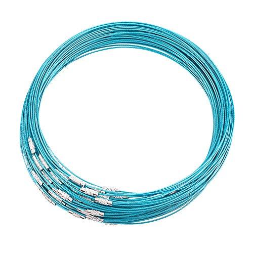 UNICRAFTALE 80pcs 44.45cm Darkcyan Wire Collar Collar de Alambre de Acero Inoxidable Gargantilla Collar con Cierre de Tornillo de Latón Collar de Alambre Fabricación de Joyas, 14.5 mm de Diámetro