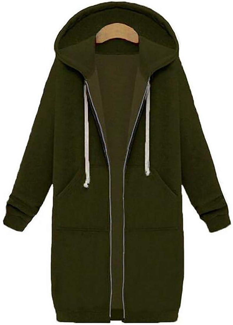 Huicai Women's Coats Sweatshirts Loose Windproof Warm Hooded Jacket