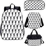 Subacuático 15 pulgadas bolsa de libro escolar bolsas de almuerzo, color oscuro caballitos de mar 4 en 1 conjuntos de mochila