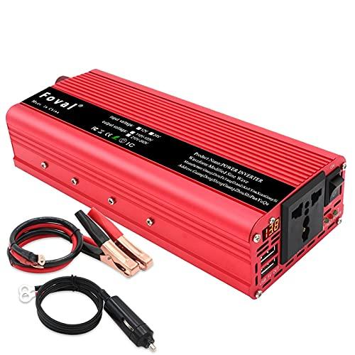 GZTYLQQ Inversor de energía Solar Boost para Coche 12v a 220v 1500w 2000w 2600w Accesorios para automóviles Adaptador de Cargador Led 4.8A 4 Convertidor de Cargador USB