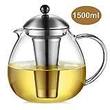 Glastal Glas Teekanne 1500ml mit 18/10 Edelstahl Teesieb Große Borosilicate Glas Teebereiter auf...
