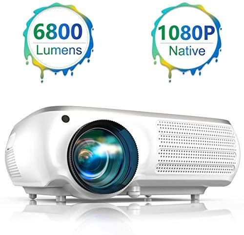 Proyector, TOPTRO 6800 Lúmenes Proyector Full HD 1920x1080P Nativo Proyectores Compatible Video 4K Sonido Dolby, Corrección Trapezoidal 4D, Zoom d'Eje X/Y 50-100%, Proyector LED para Cine en Casa