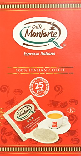 Caffè Monforte Kaffeepads 100% italienischer Espresso- 2er Pack (Insg 50 Pods)