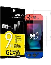 NEW'C 2 Pezzi, Vetro Temperato per Nintendo Switch, Pellicola Prottetiva Anti Graffio, Anti-Impronte, Senza Bolle, Durezza 9H, 0,33mm Ultra Trasparente, Ultra Resistente
