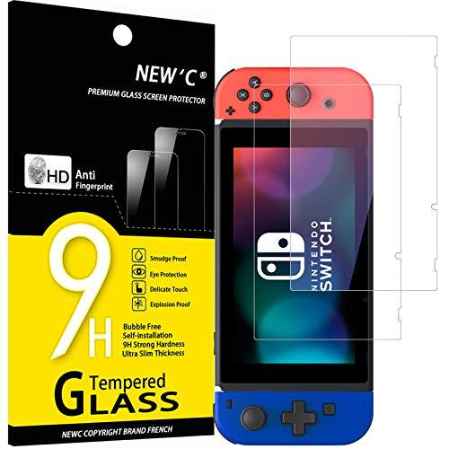 NEW'C Lot de 2, Verre Trempé Compatible avec Nintendo Switch, Film Protection écran sans Bulles d'air Ultra Résistant (0,33mm HD Ultra Transparent) Dureté 9H Glass