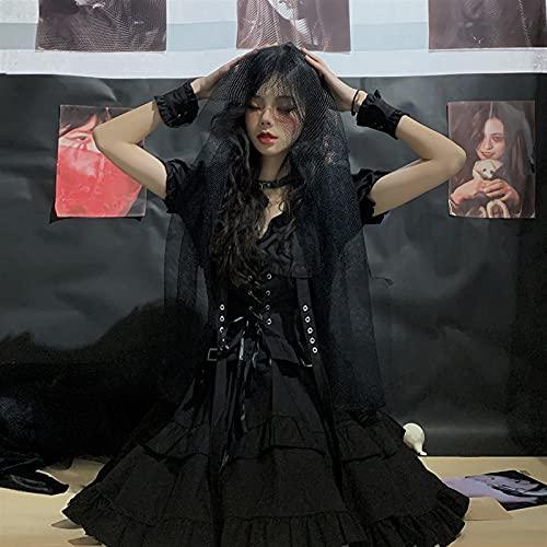 LYMZZY Nuevo Slim Retro Dark Black Gothic Cintura Vestido de Cintura Nicha Puff Mangas (Color : Black Dress, Size : M)