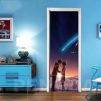 ドアステッカー 壁画デカールクリエイティブドアステッカーアニメ印刷アートピクチャーPVC壁紙自己接着ホームデコレーションガールズルームリノベーションを更新 (Color : Door LXR3108 01, Sticker Size : 95x215cm)