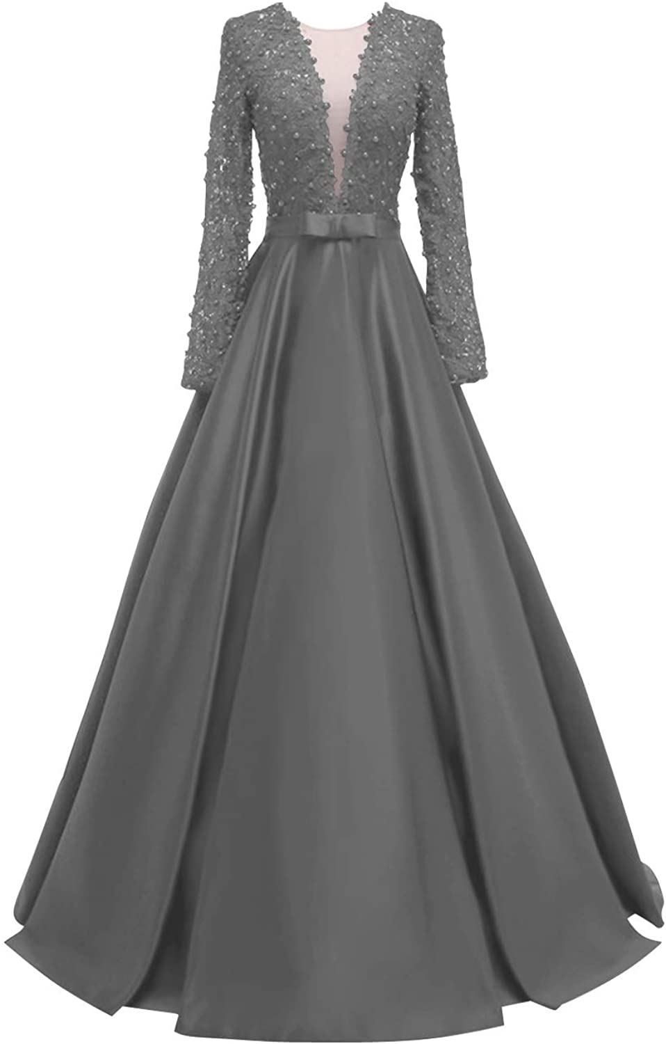 SUNFURA Women's Lace Long Sleeves Illusion Back Prom Evening Dress with Bow