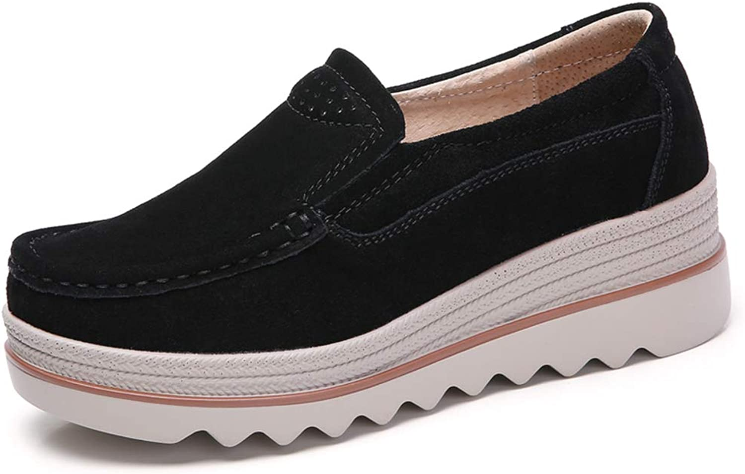 JOYBI Women Fashion Round Toe Loafers Flats Suede Comfortable Slip On Creepers Casual Platform Sneakers
