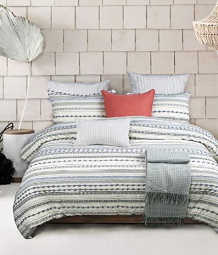 ALIAN Lightweight Jacquard Stripped Comforter, Comforter Set Bed in A Bag 5 Pieces 1 Down Alternative Comforter for All Season, 2 Pillow Shams, 2pillow Cases