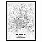 Regensburg Deutschland Karte Wandkunst Leinwand drucken