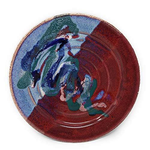 Larrabee Ceramics Handmade Plate, 9-inch Salad, Mauve/Red
