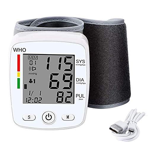 T-XYD Monitor de presión Arterial de muñeca Máquinas de presión Arterial Digitales Recargables automáticas 2 Usuario 99 Modo de Memoria para Uso doméstico