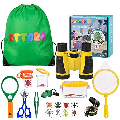 UTTORA Kit de Exploración para Niños 22 en 1, Juego de Explorador para Niños para Niños Prismáticos/Binoculares, Silbato, Brújula, Lupa, 6 Arañas Plasticas, Regalo para Navidad, los Reyes
