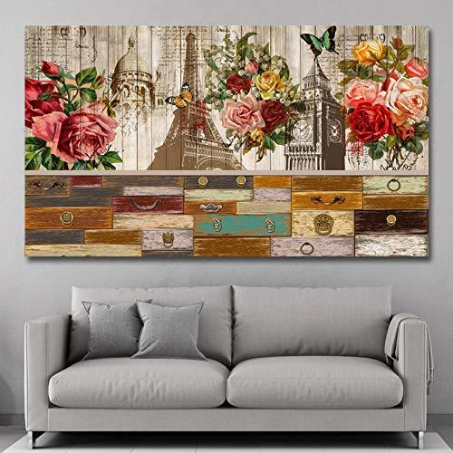 KWzEQ Eiffelturm Holzmuster Blume Leinwand Moderne Wandkunst Poster Home Decoration Wohnzimmer,Rahmenlose Malerei,60x105cm
