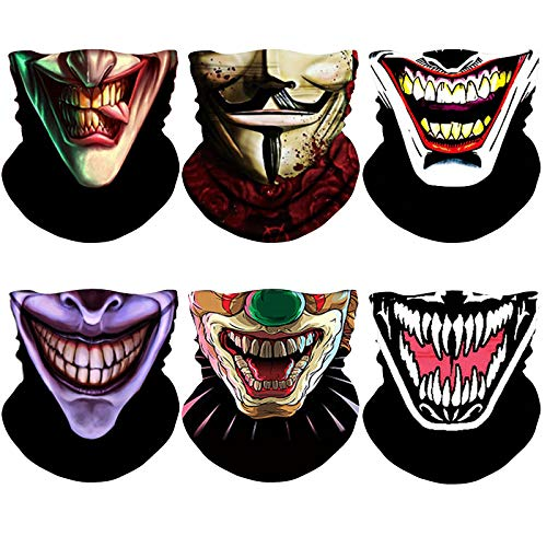 NTBOKW Neck Gaiter Face Mask for Men Women Bandana Face Mask Headband Headwear Gaiter Mask Seamless Face Cover Scarf Mask Breathable for Outdoor Wind Sun Dust Protection (Clown 6 Pack Multicolor 50)
