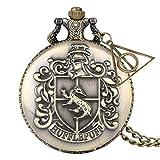Hogwarts Crest Reloj de bolsillo con colgante de llavero Escuela de magia Fantástica Escuela de reliquias de la muerte Reloj Collar Joyería Colgante Hombres Estilo Steampunk Reliquias de la muerte Re