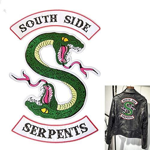 Comtervi Riverdale South Side - Parche de serpiente, parche bordado adhesivo 3 piezas