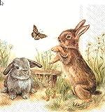 20 Servietten Spielende Hasen im Gras als Tischdeko zu Ostern 33x33cm