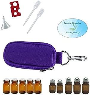 Essential Oil 10 Bottle Keychain Carrying Case, Roller Bottles and Euro Orifice Reducer Bottles, Bottle Opener, Funnel, Pipettes (Purple)