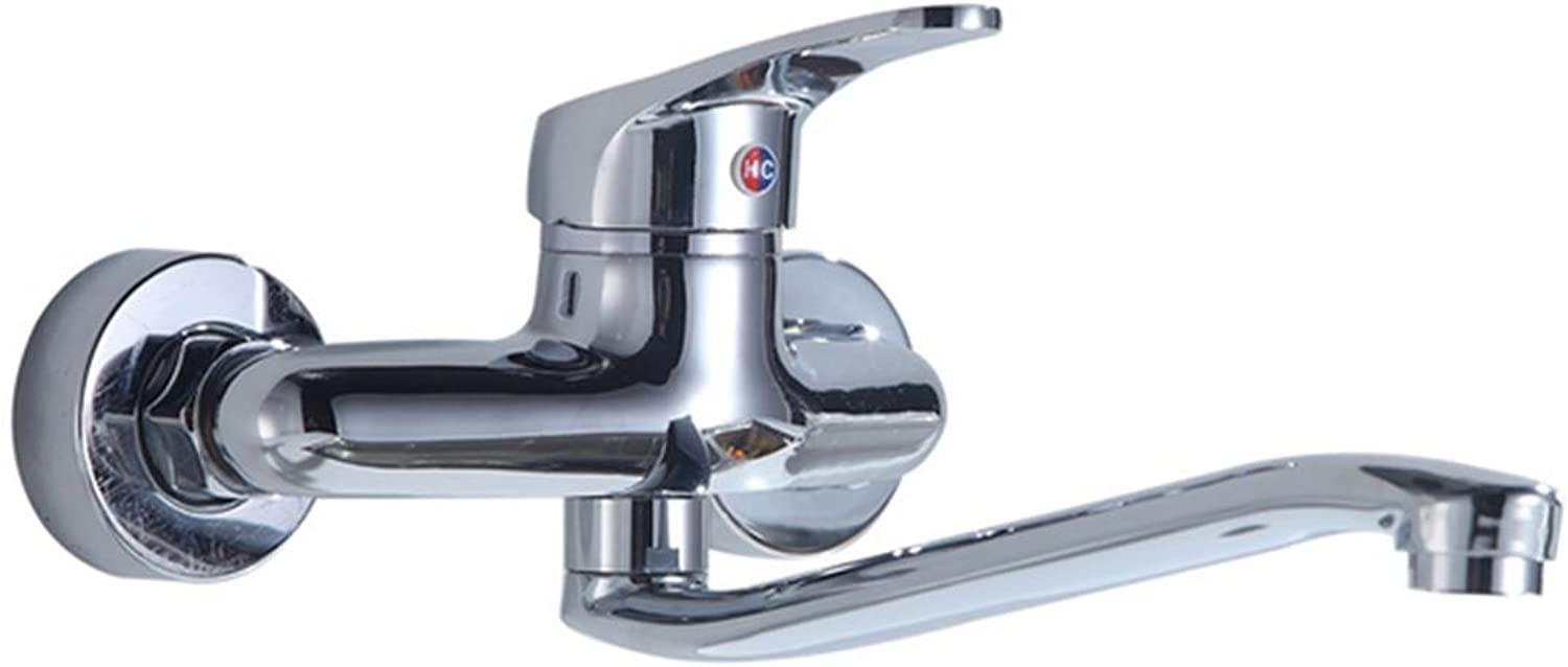 SHIQUNC Kitchen Faucet, Full Copper, 360 Degree redatable, Single Handle Double Hole, into the Wall, Type Shower Room Laundry Pool, Faucet
